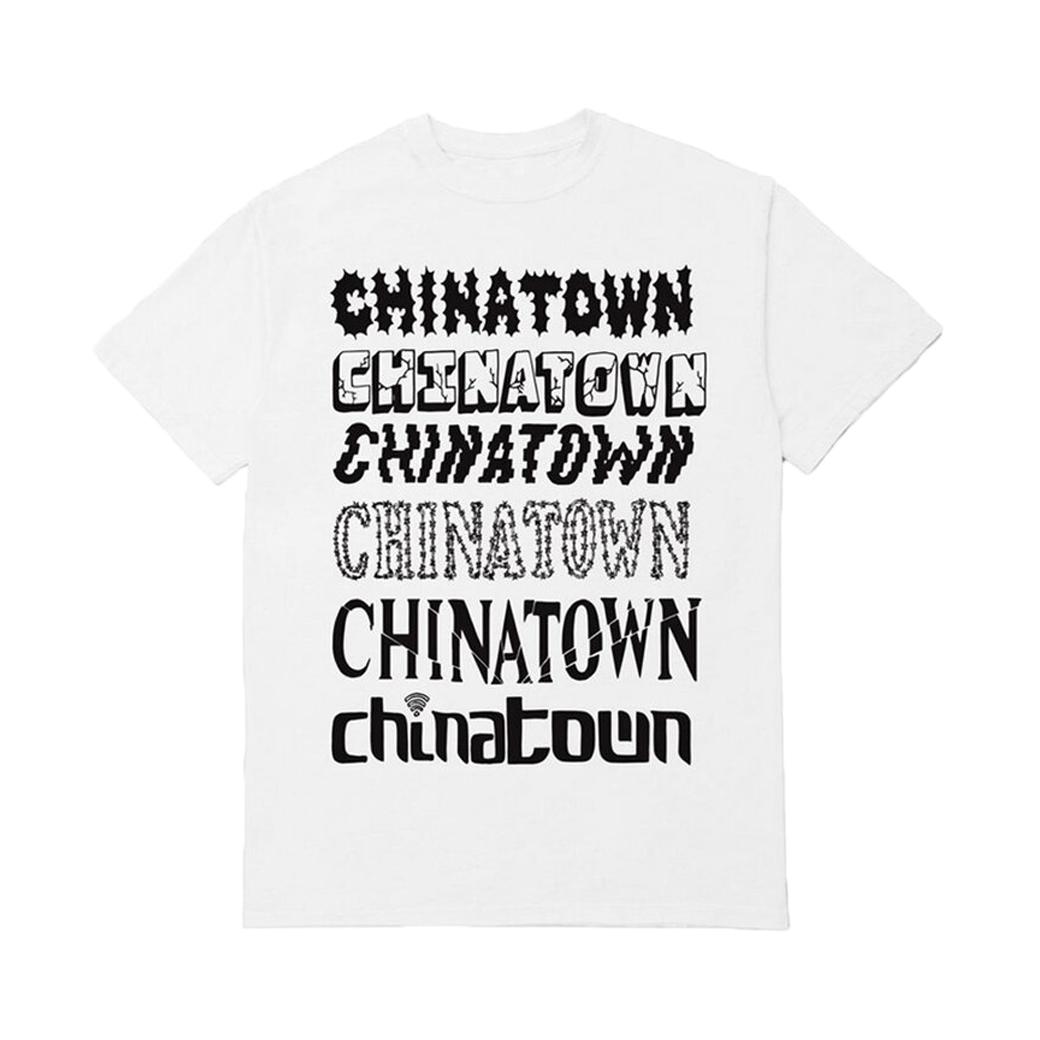 CHINATOWN MARKET STACKED LOGO TEE WHITE