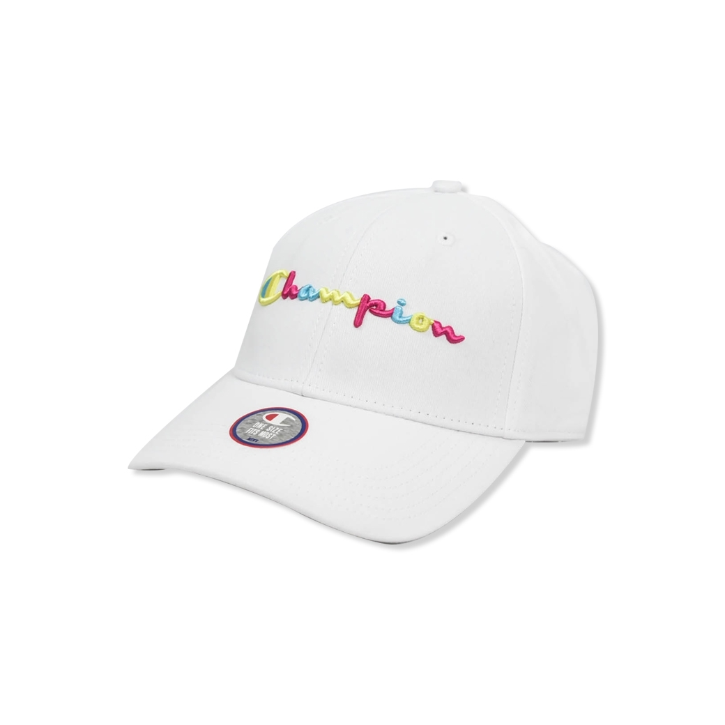 CHAMPION CLASSIC TWILL HAT WITH MULTI POP SCRIPT WHITE