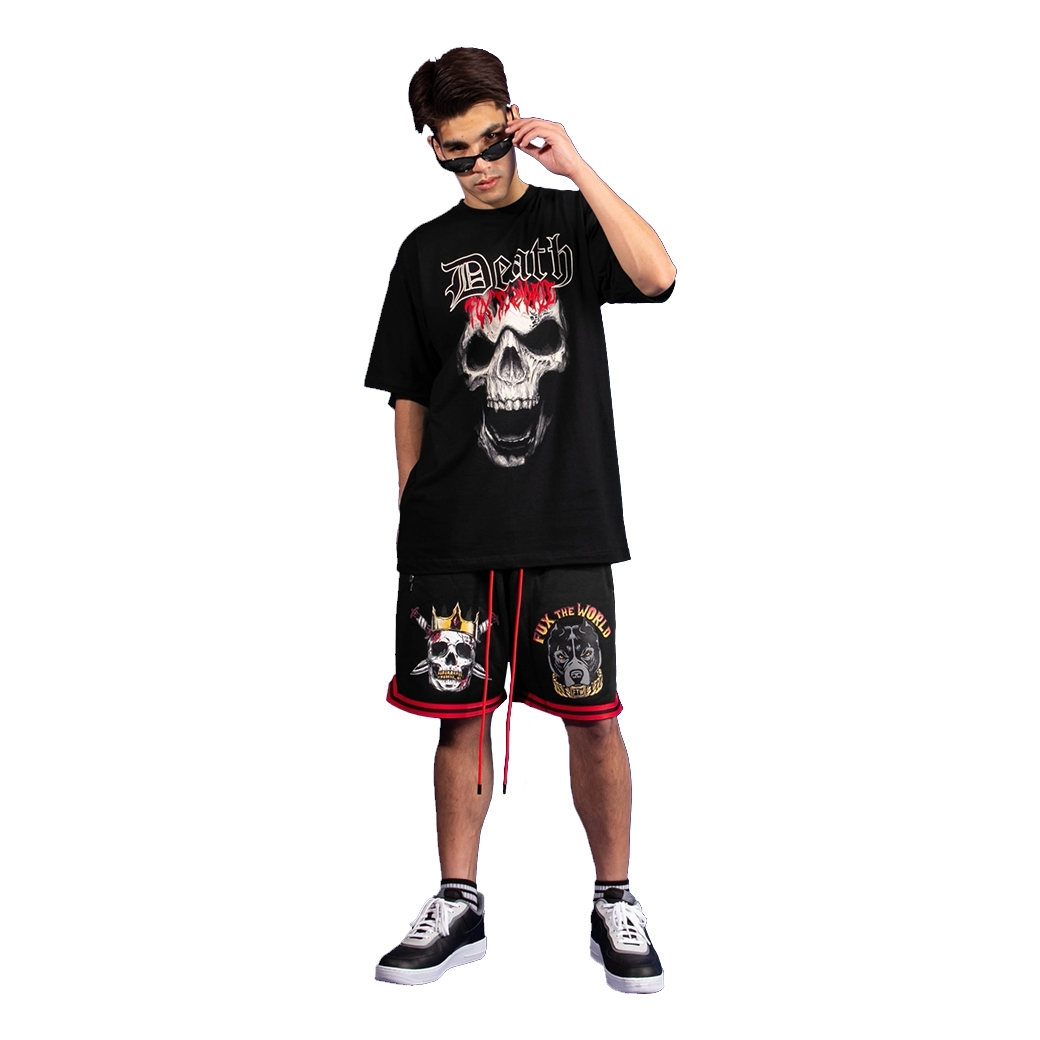 FUX THE WORLD FUX THE HOTTER THAN HELL SHORTS + FUX THE WORLD THE DEATH TEE