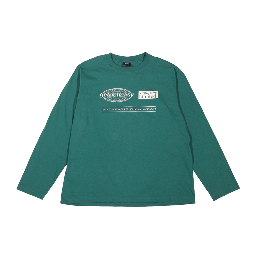 GET RICH EASY COMPANY LOGO L/S TEE GREEN