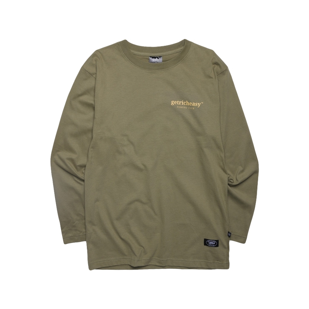 GET RICH EASY FISHING CLUB L/S TEE ARMY