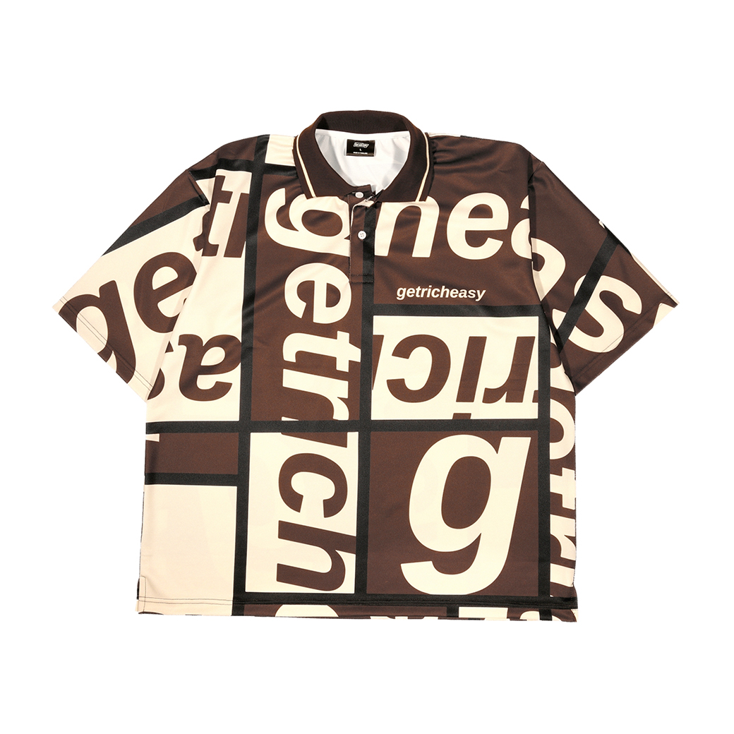 GET RICH EASY BLOCK LOGO OVERSIZED POLO SHIRT BROWN