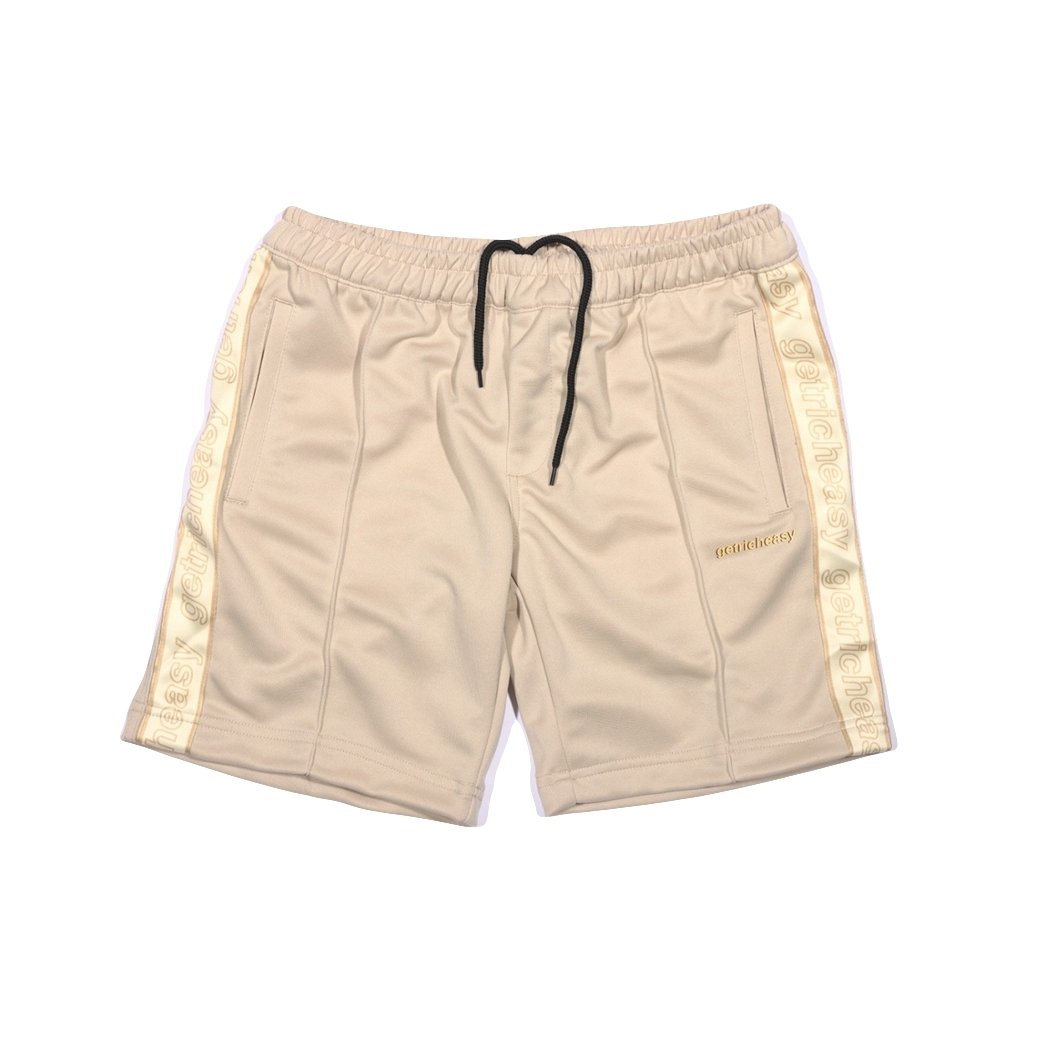 GET RICH EASY TAPED TRACK SHORTS KHAKI