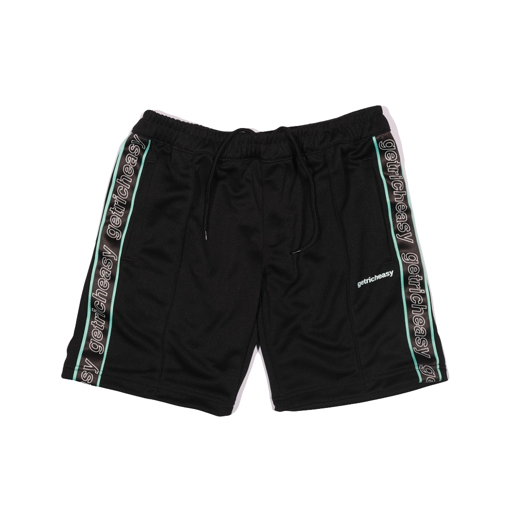 GET RICH EASY TAPED TRACK SHORTS BLACK