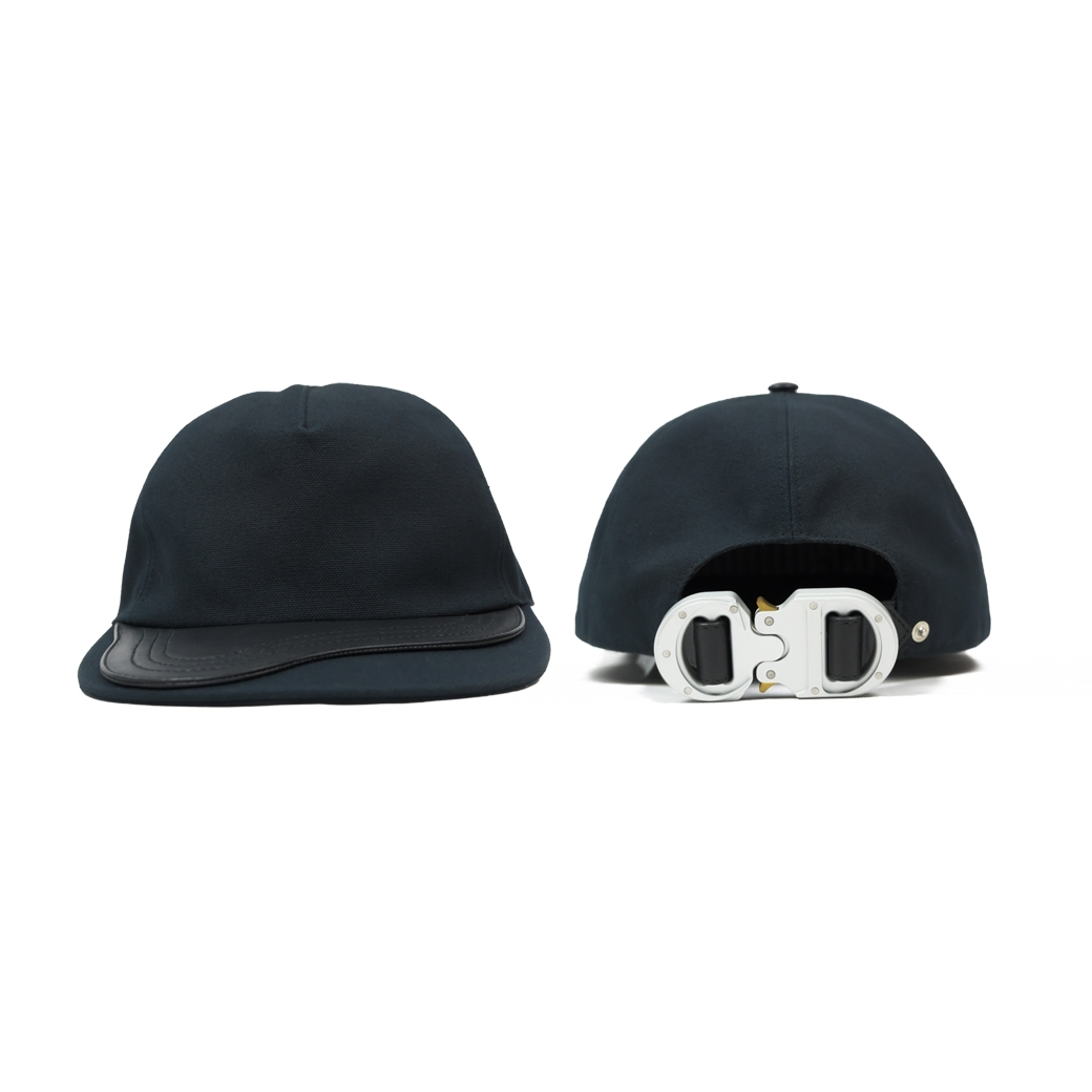 CHRISTIAN DIOR X ALYX COTTON & LEATHER BASEBALL CAP WITH CD BUCKLE BLACK