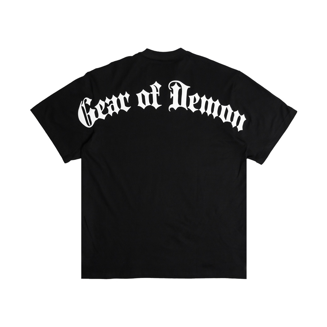 GEAR OF DEMON LOGO OVERSIZE T-SHIRT BLACK
