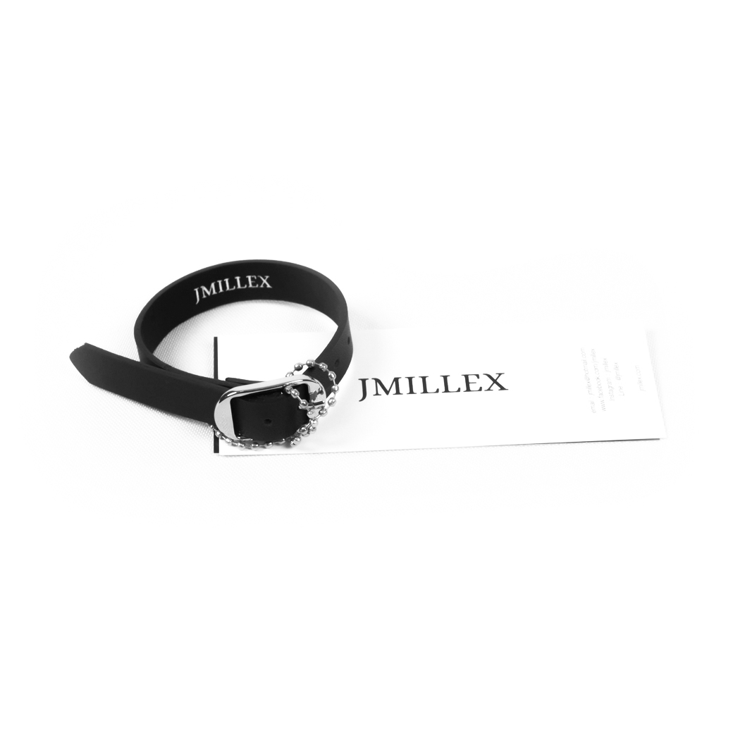 JMILLEX AXEL LEATHER BRACELET BLACK