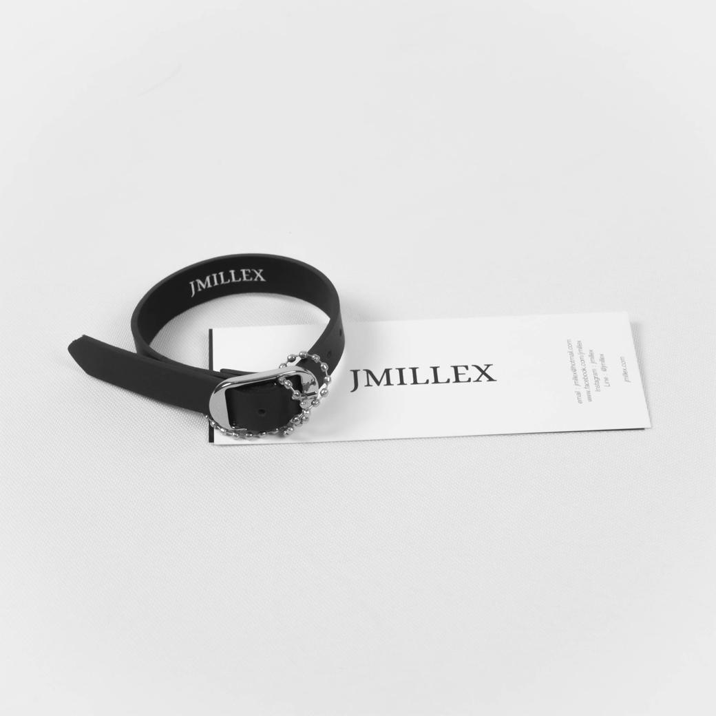 JMILLEX AXEL LEATHER BRACELET BLACK