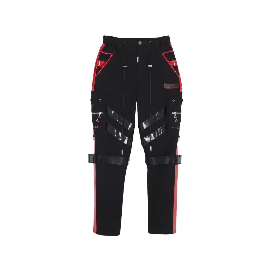 LÉANDRE MILITARY SCI-FI CARGO PANTS BLACK/RED