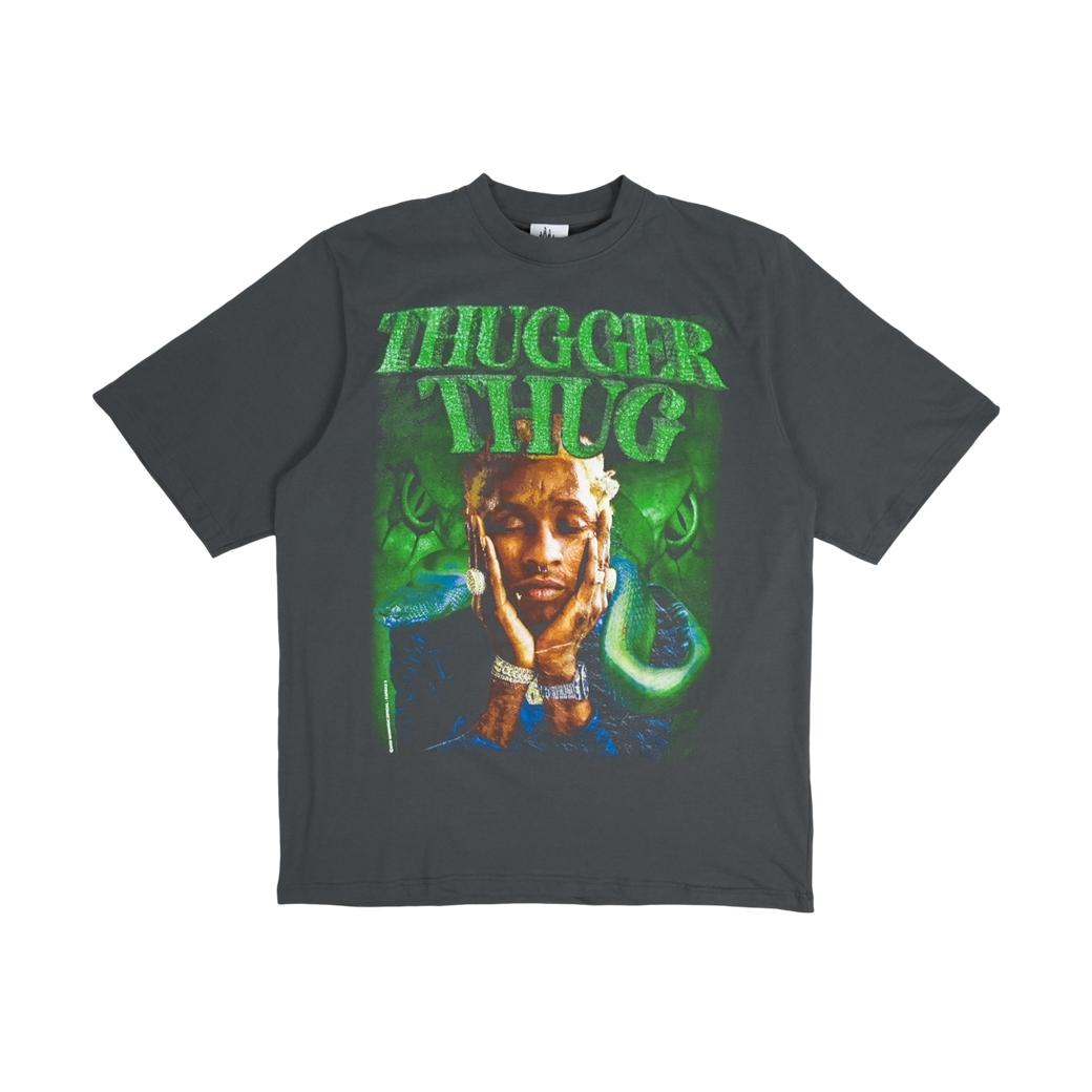 MAD MANIAC THUGGER THUG T-SHIRT CHARCOAL GREY