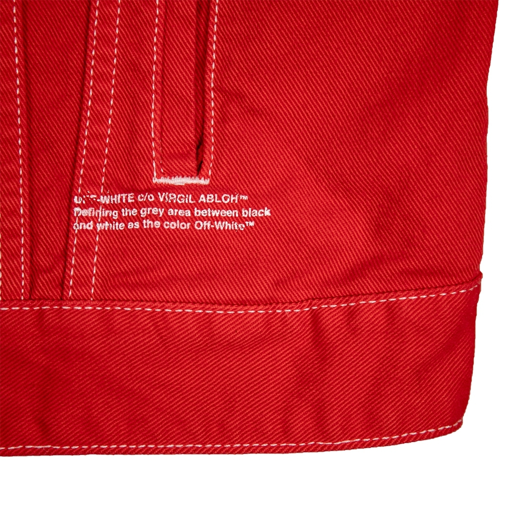 OFF-WHITE DIAG SKULLS GRAPHIC DENIM JACKET RED