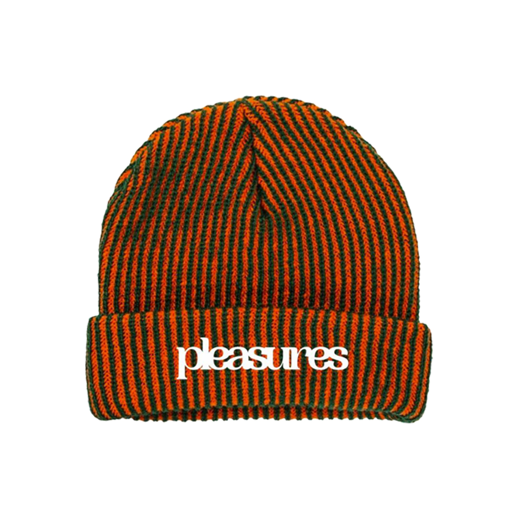 PLEASURES VIOLATION STRIPER BEANIE ORANGE