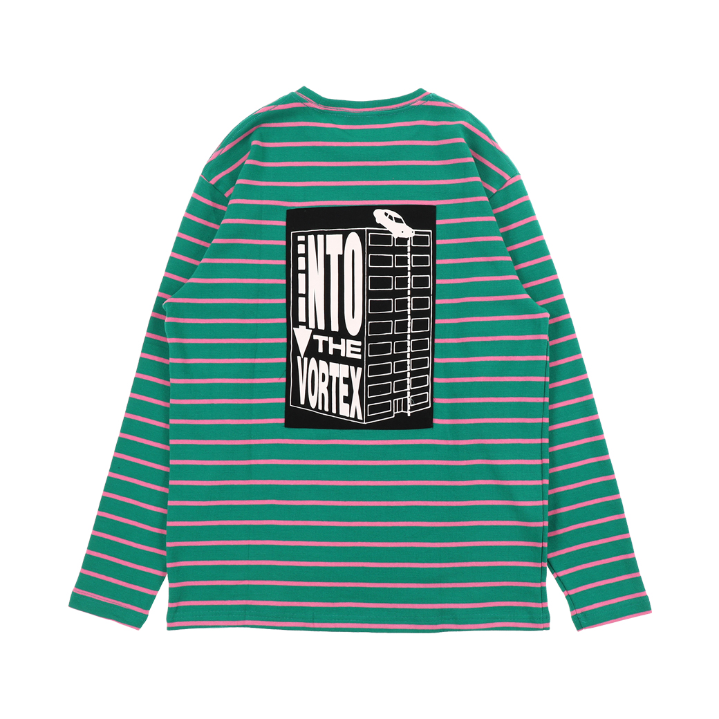 PLEASURES VORTEX L/S TEE STRIPED GREEN