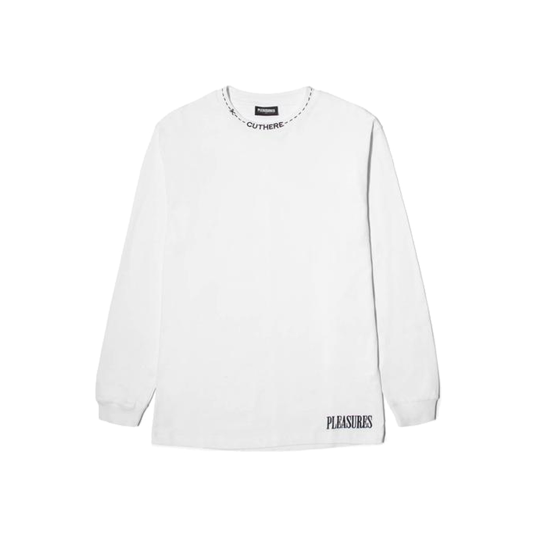 PLEASURES CUT HERE HEAVYWEIGHT L/S SHIRTS WHITE