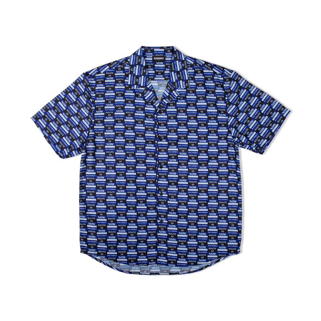 PLEASURES HIGHWAY S/S BUTTON UP BLUE