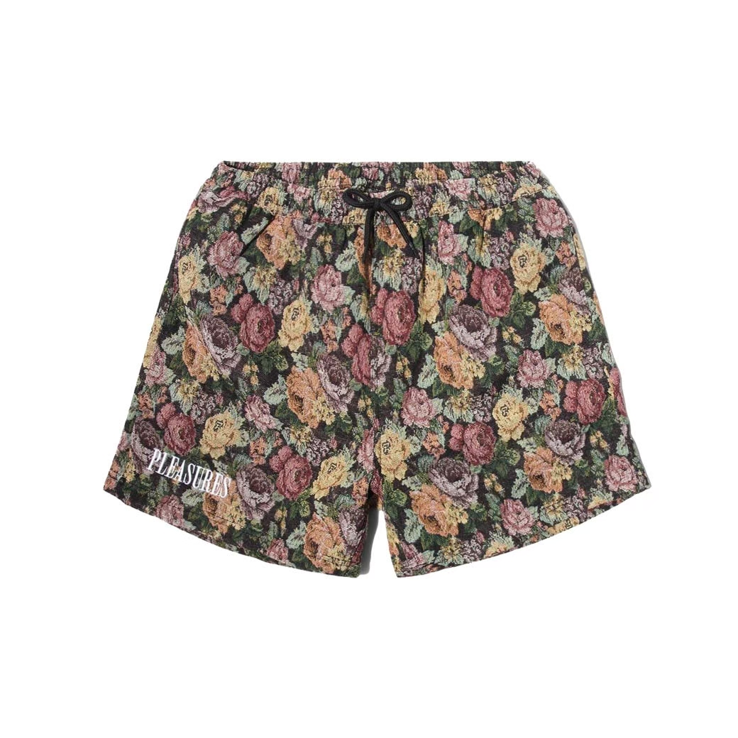 PLEASURES FLORAL WOVEN SHORTS BLACK