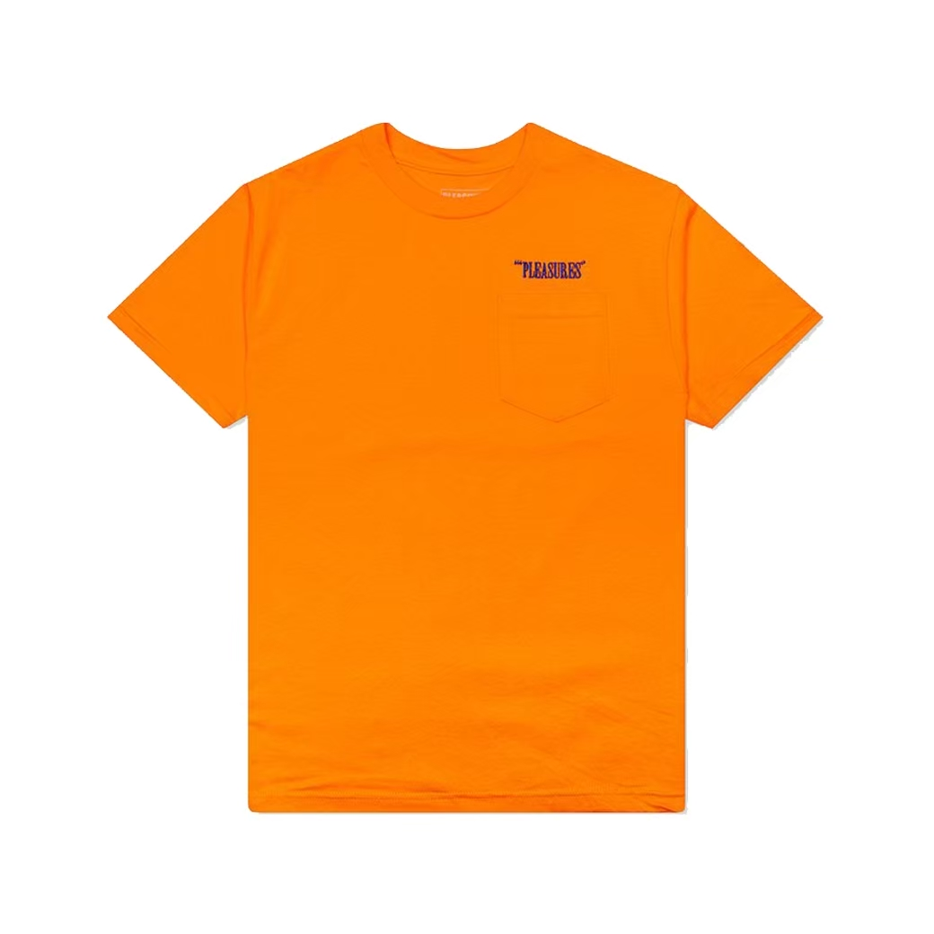 PLEASURES BALANCE EMBROIDERED POCKET TEE ORANGE