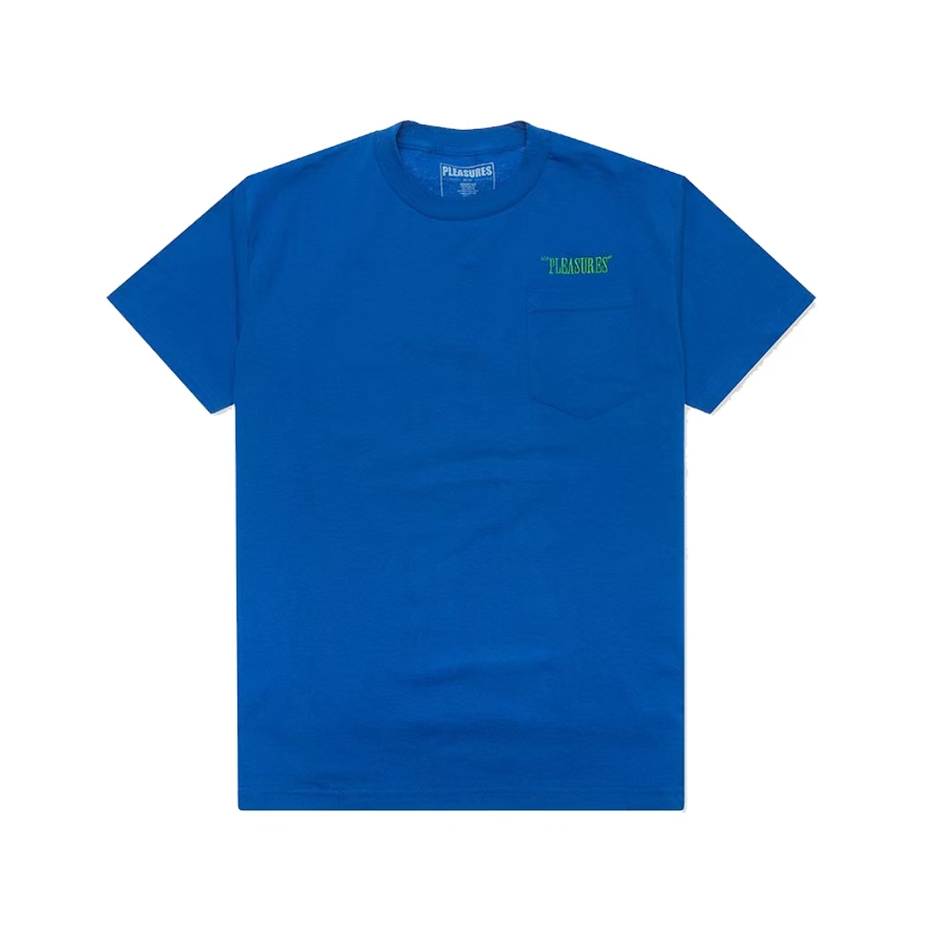 PLEASURES BALANCE EMBROIDERED POCKET TEE BLUE
