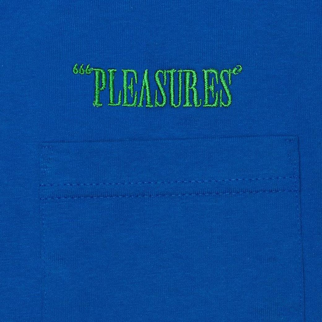 PLEASURES BALANCE EMBROIDERED POCKET TEE BLUE