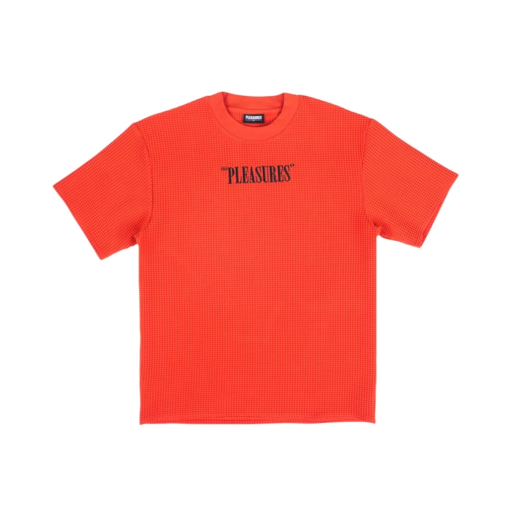 PLEASURES VISIONS WAFFLE KNIT TEE RED