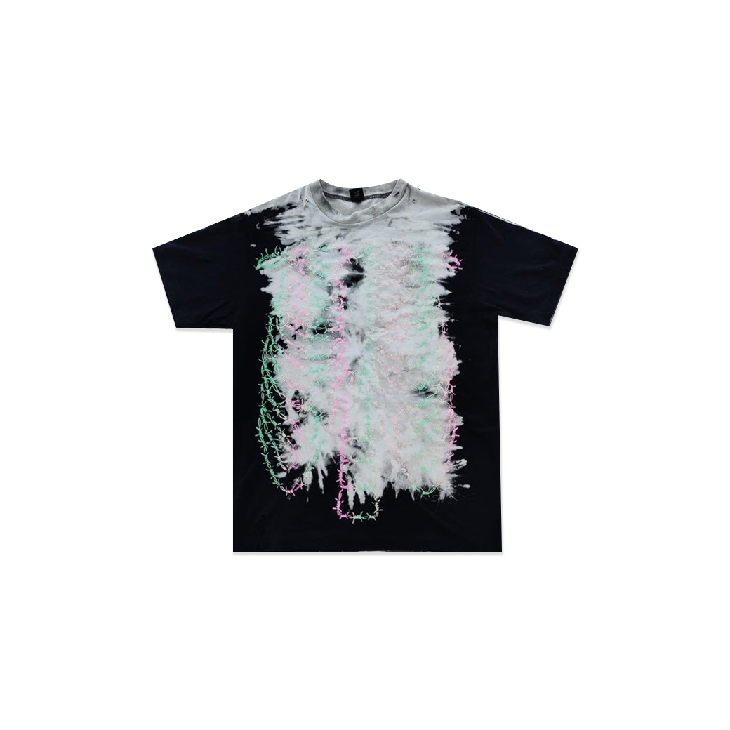 RAGE & LOVE ACID WASH BARBWIRE SKELETON TEE MULTI