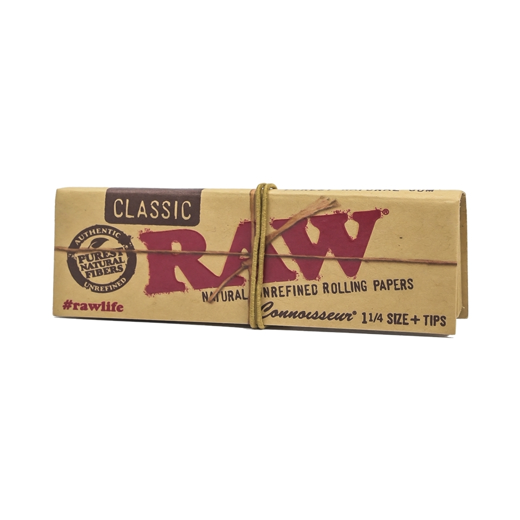 RAW CLASSIC NATURAL UNREFINED ROLLING PAPERS 1/4 + TIPS