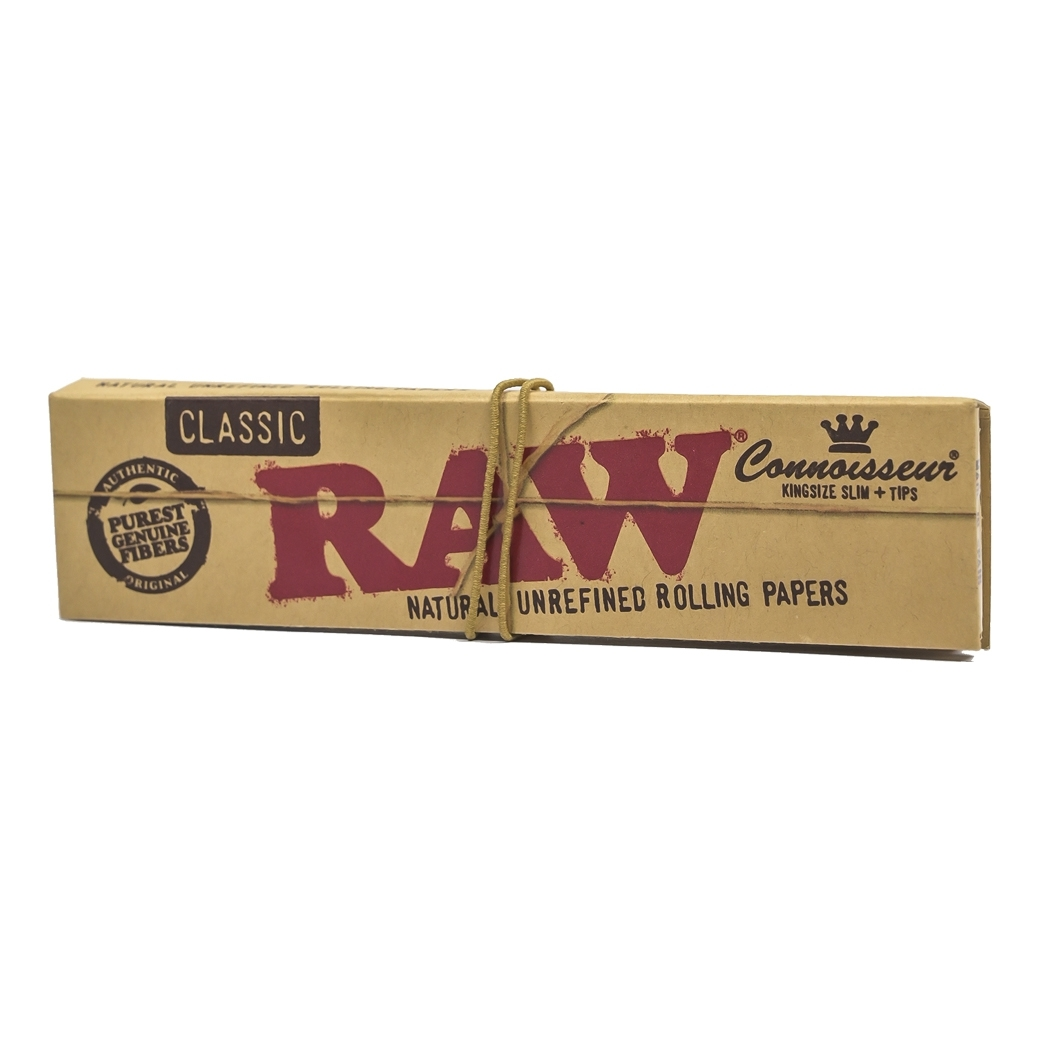 RAW CLASSIC NATURAL UNREFINED ROLLING PAPAERS KINGSIZE SLIM+TIPS