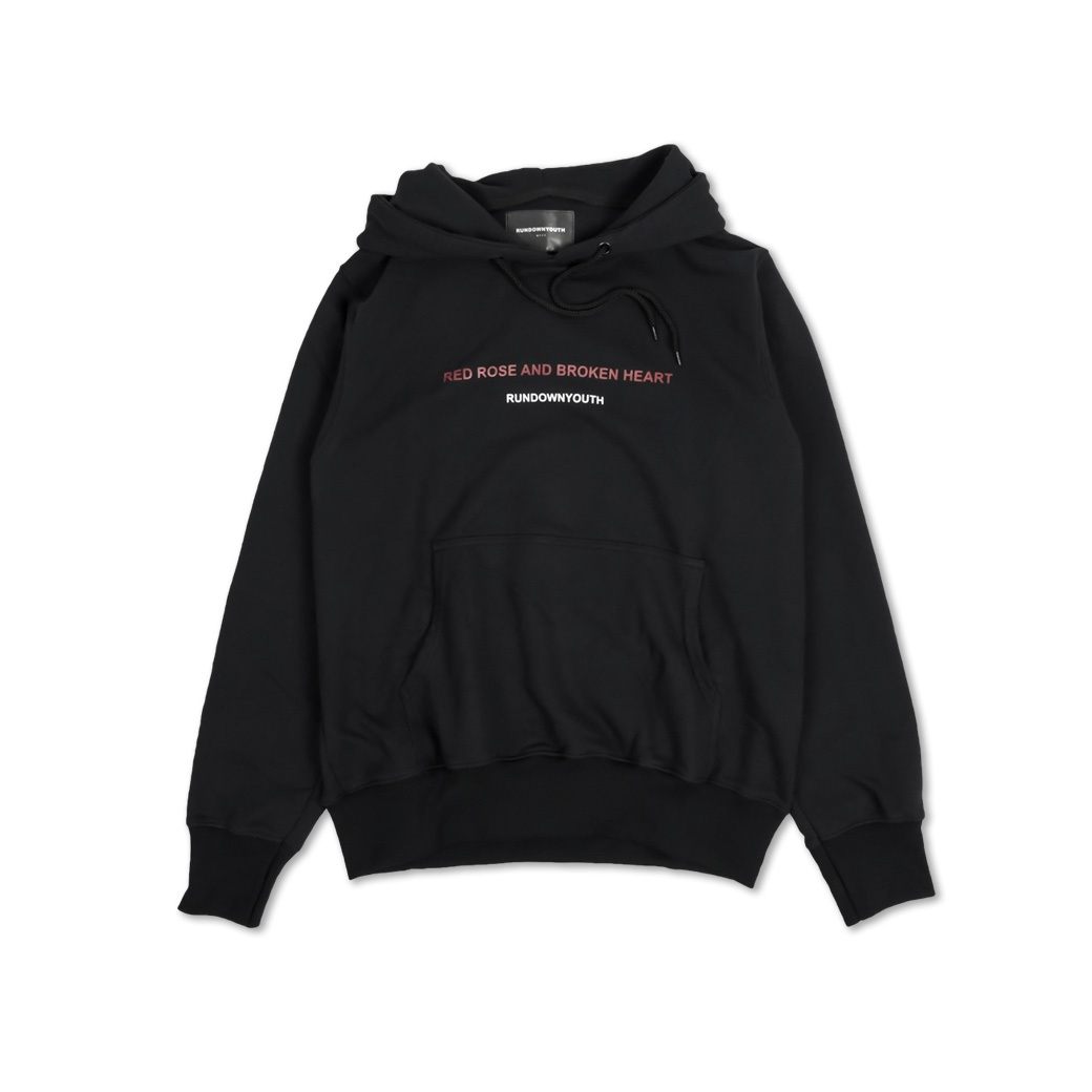 RUNDOWNYOUTH RED ROSE AND BROKEN HEART HOODIE BLACK