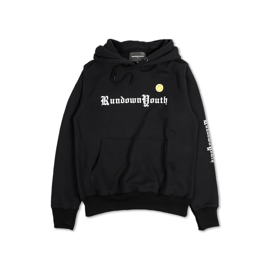 RUNDOWNYOUTH SMILEY HOODIE BLACK