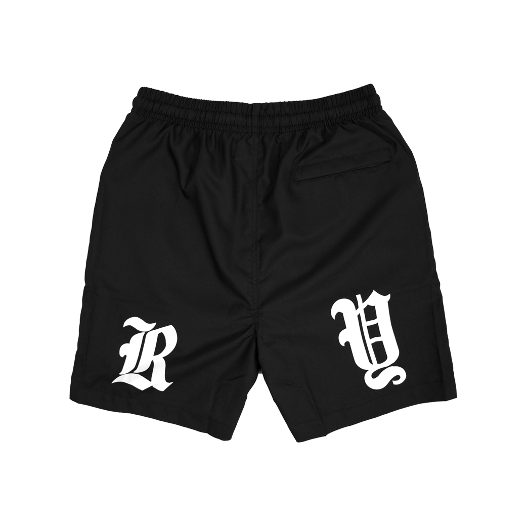RUNDOWNYOUTH LOGO SHORTS BLACK