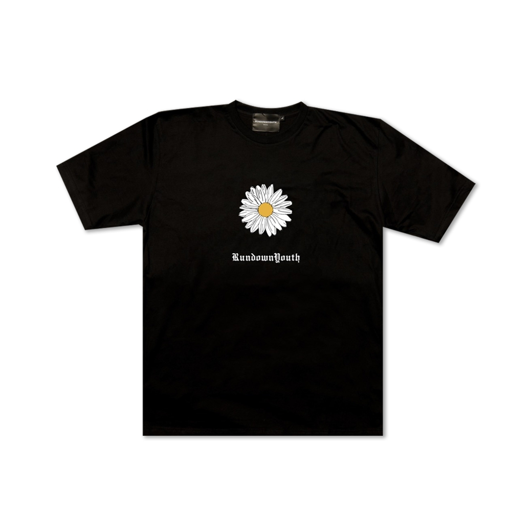 RUNDOWNYOUTH DAISY TEE BLACK