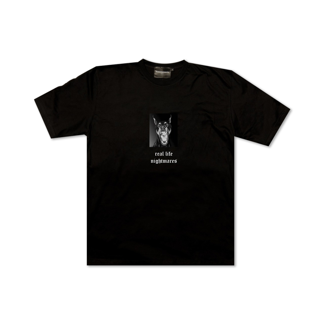 RUNDOWNYOUTH REAL LIFE NIGHTMARES TEE BLACK