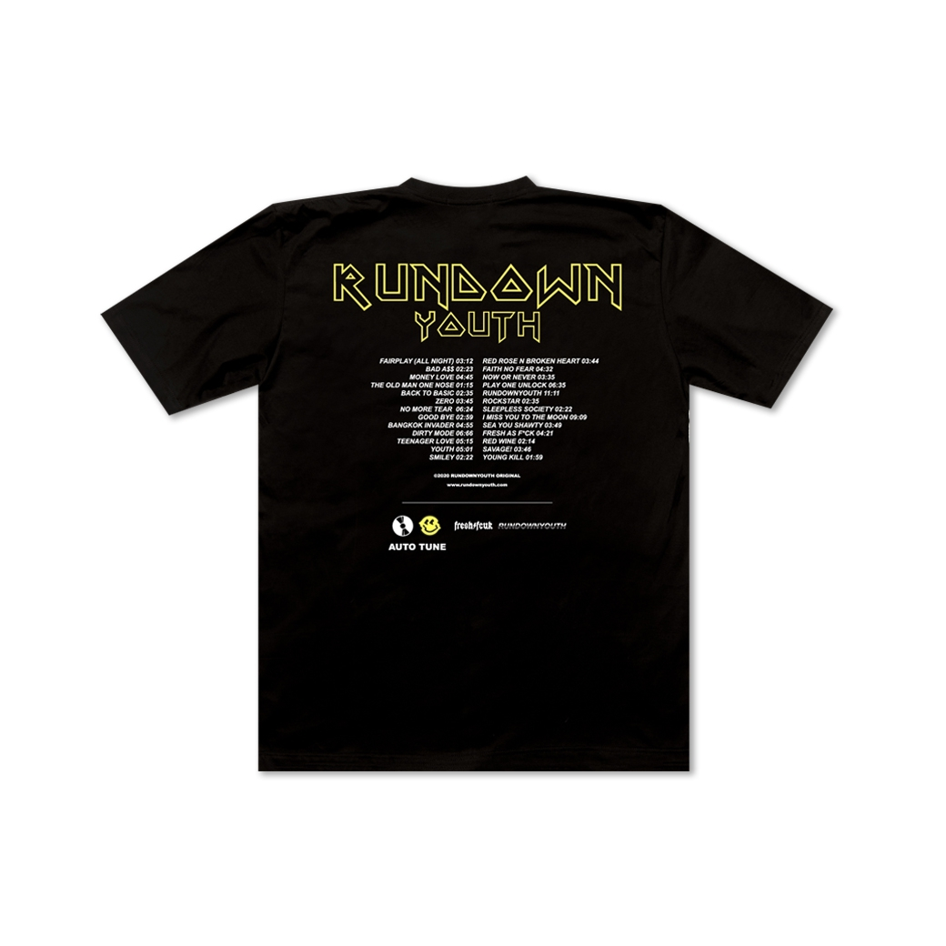 RUNDOWNYOUTH YOUTH CULTURE T-SHIRT BLACK