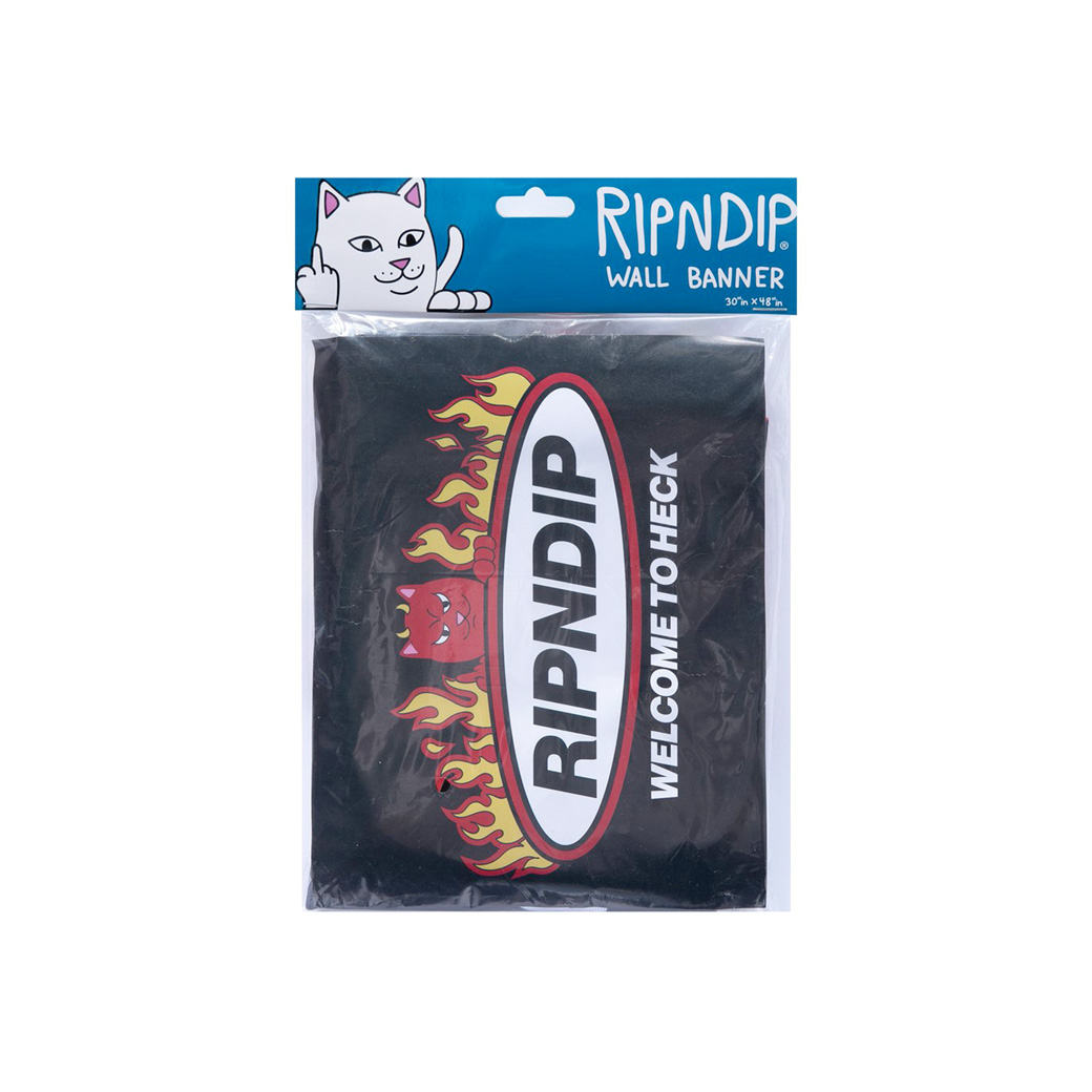 RIPNDIP WELCOME TO HECK WALL BANNER BLACK