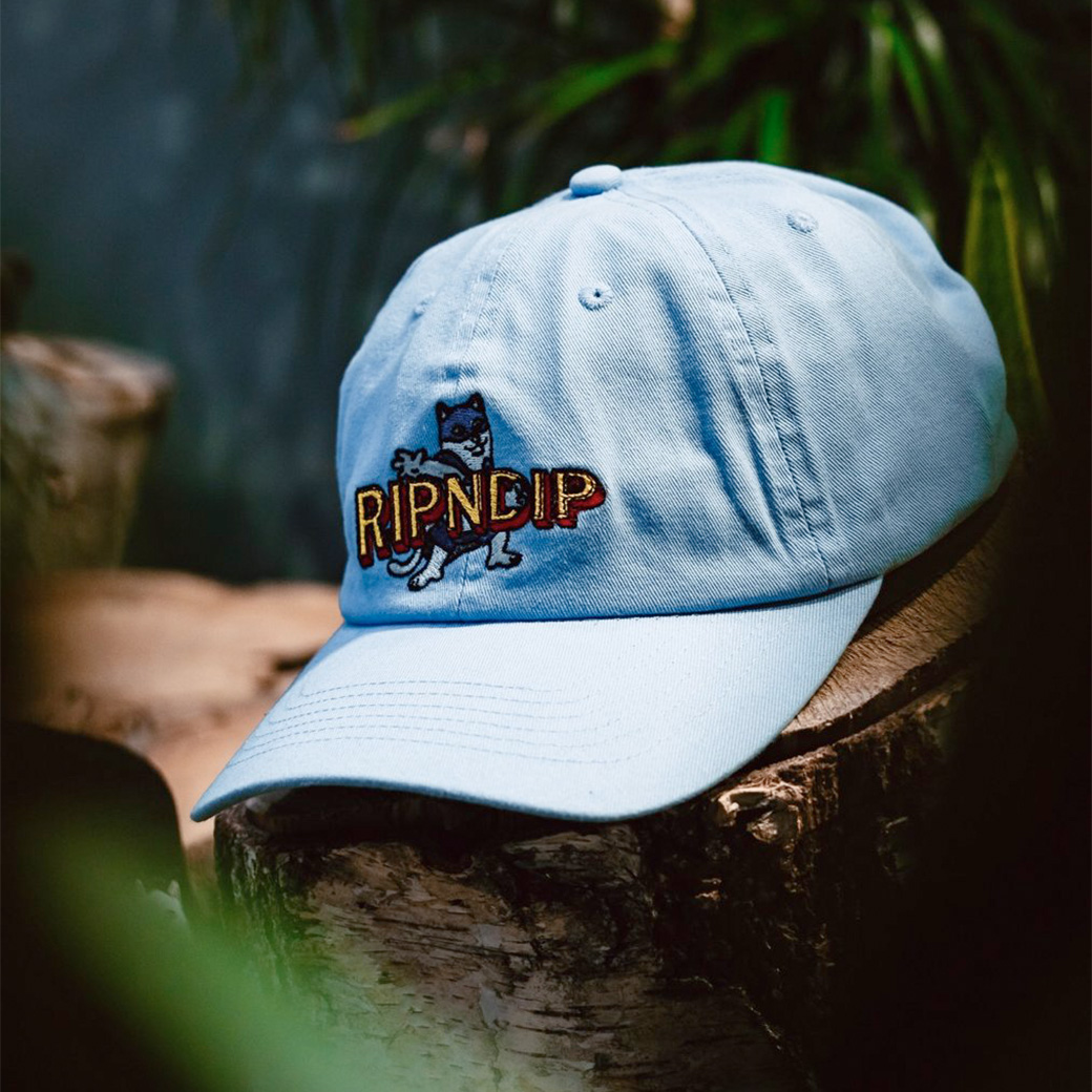 RIPNDIP CAPTAIN NERMAL PANTS DAD HAT LIGHT BLUE