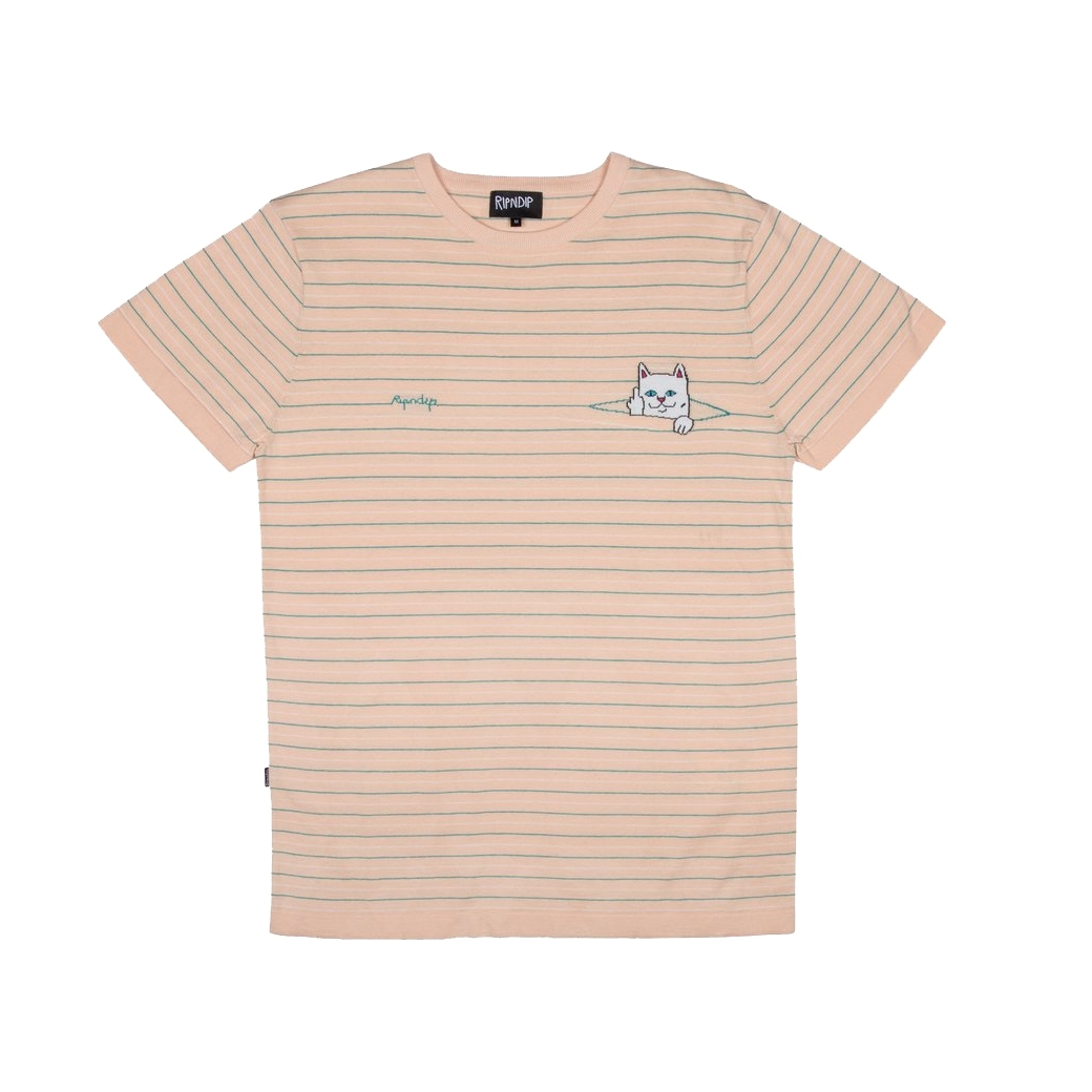 RIPNDIP PEEKING NERMAL KNIT TEE NATUAL/TEAL