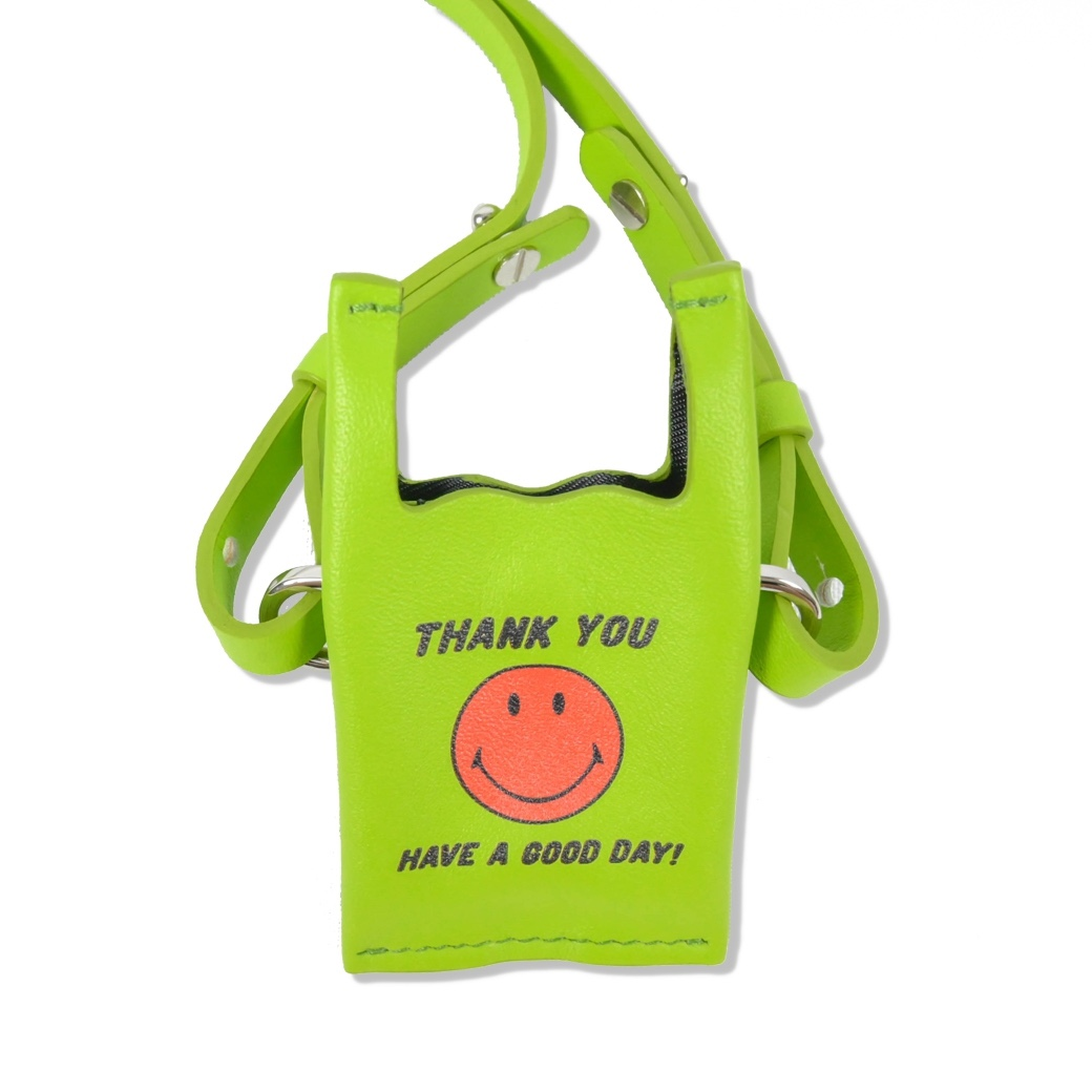 SMILE CLUB CUSTOM MINI SHOPPING LEATHER BAG SOFT GREEN