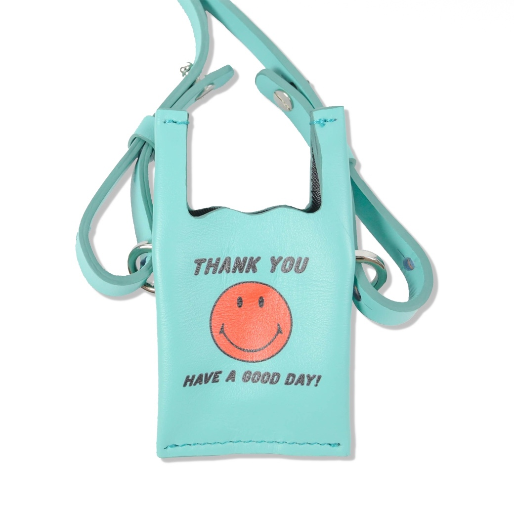 SMILE CLUB CUSTOM MINI SHOPPING LEATHER BAG BLUE