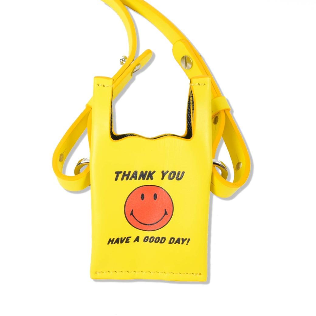 SMILE CLUB CUSTOM MINI SHOPPING LEATHER BAG YELLOW