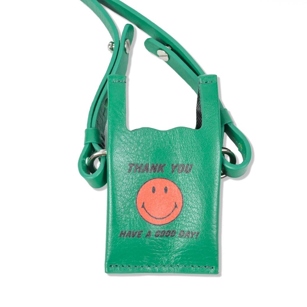 SMILE CLUB CUSTOM MINI SHOPPING LEATHER BAG GREEN