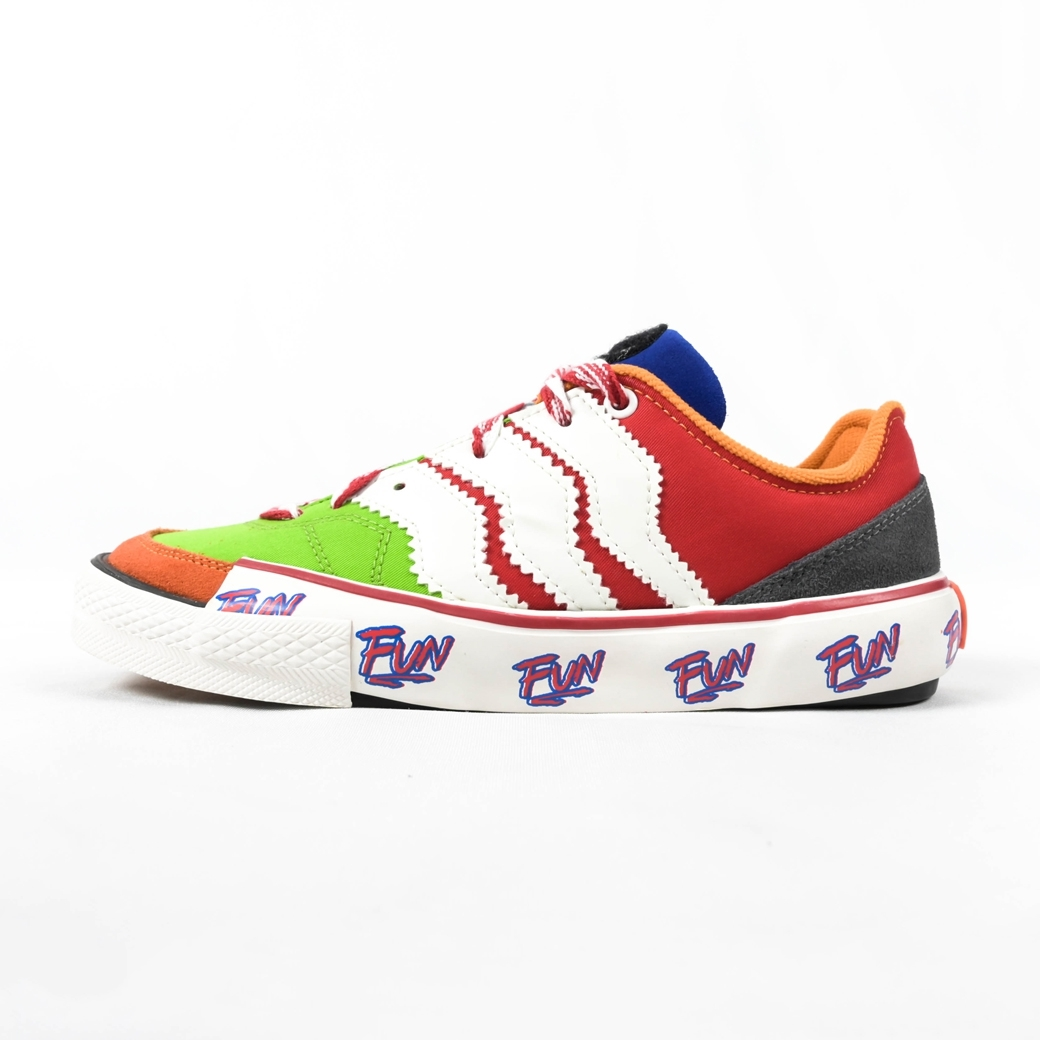 SMILE CLUB CUSTOM FUNNY SNEAKER V.2 - GREEN/RED - WHITE