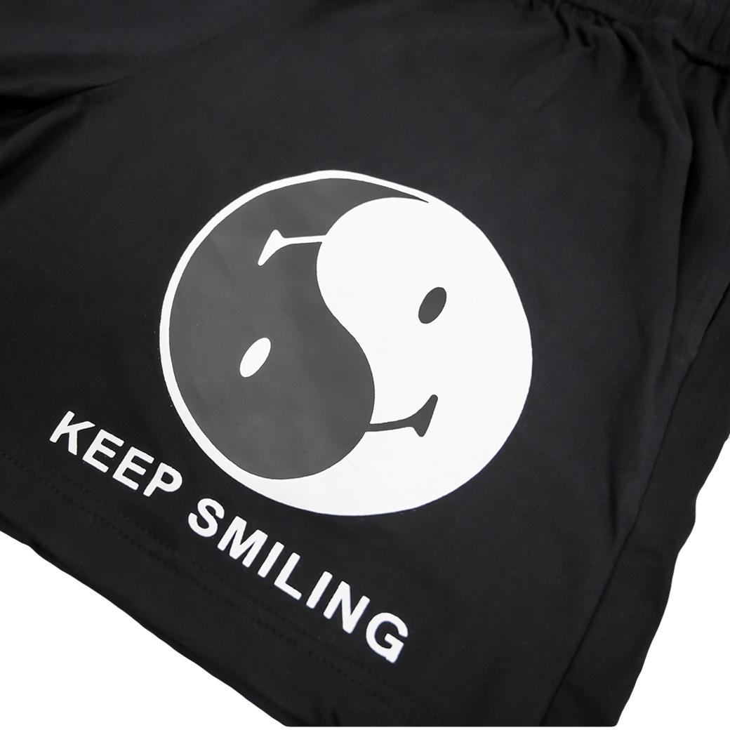 SMILE CLUB CUSTOM YINYANG SHORTS BLACK