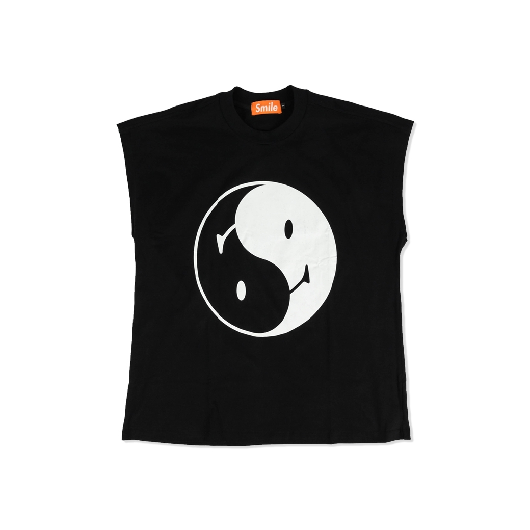 SMILE CLUB CUSTOM YIN YANG 10 ภาษา OVERSIZE (แขนกุด) TEE BLACK