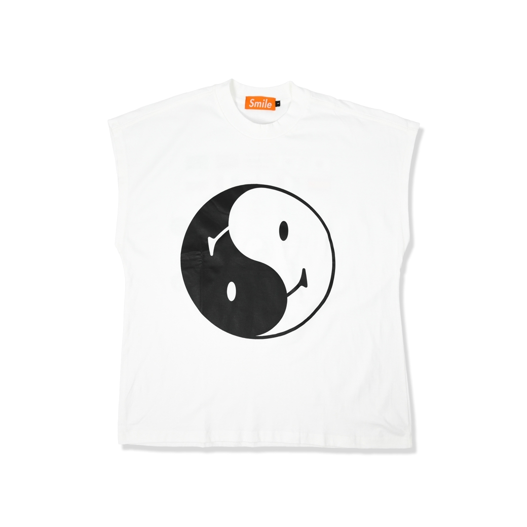 SMILE CLUB CUSTOM YIN YANG 10 ภาษา OVERSIZE (แขนกุด) TEE WHITE