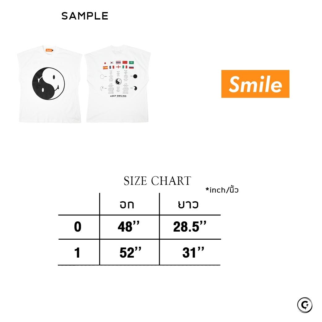 SMILE CLUB CUSTOM YIN YANG 10 ภาษา OVERSIZE (แขนกุด) TEE WHITE