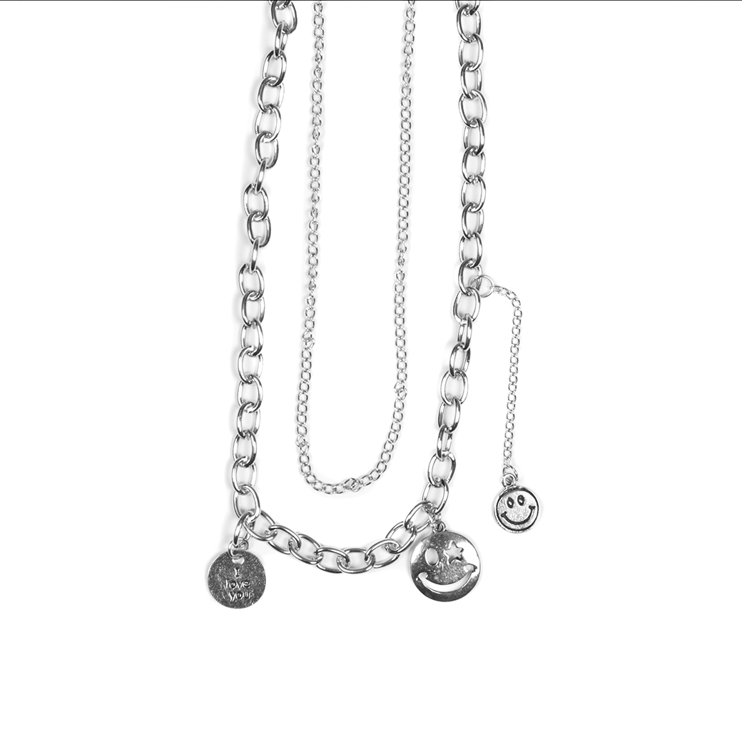 SOLASTA SMILING FACE V.3 NECKLACE SILVER