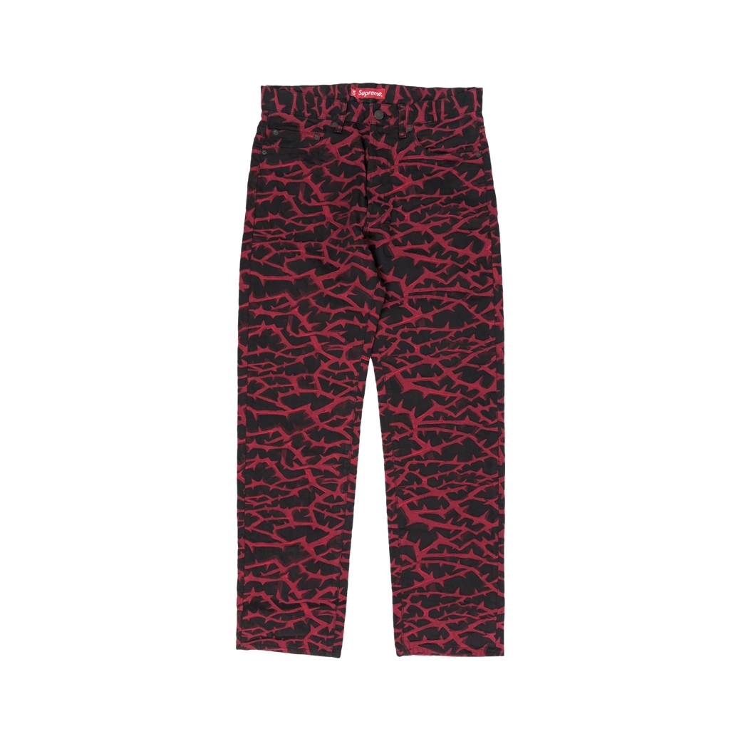 SUPREME THORN PANTS BLACK/RED