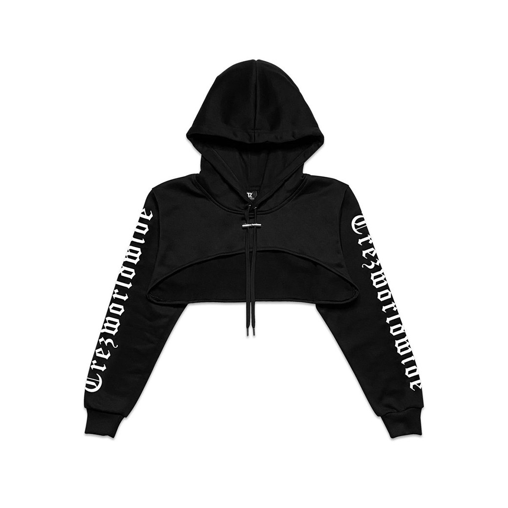 TZ WORLDWIDE BE TREZ HIGH CROPPED HOODIE BLACK