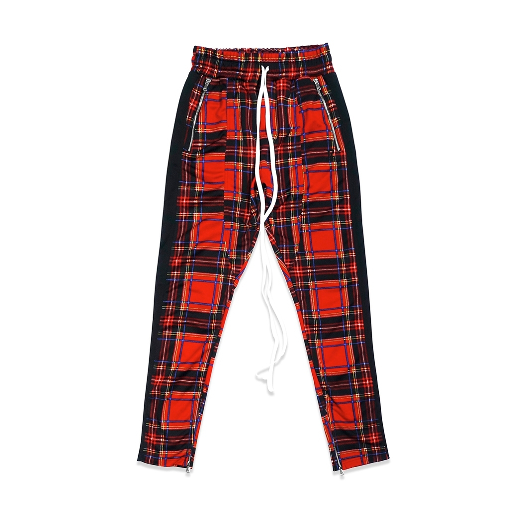 TZ WORLDWIDE PLAID TRACK PANTS RED
