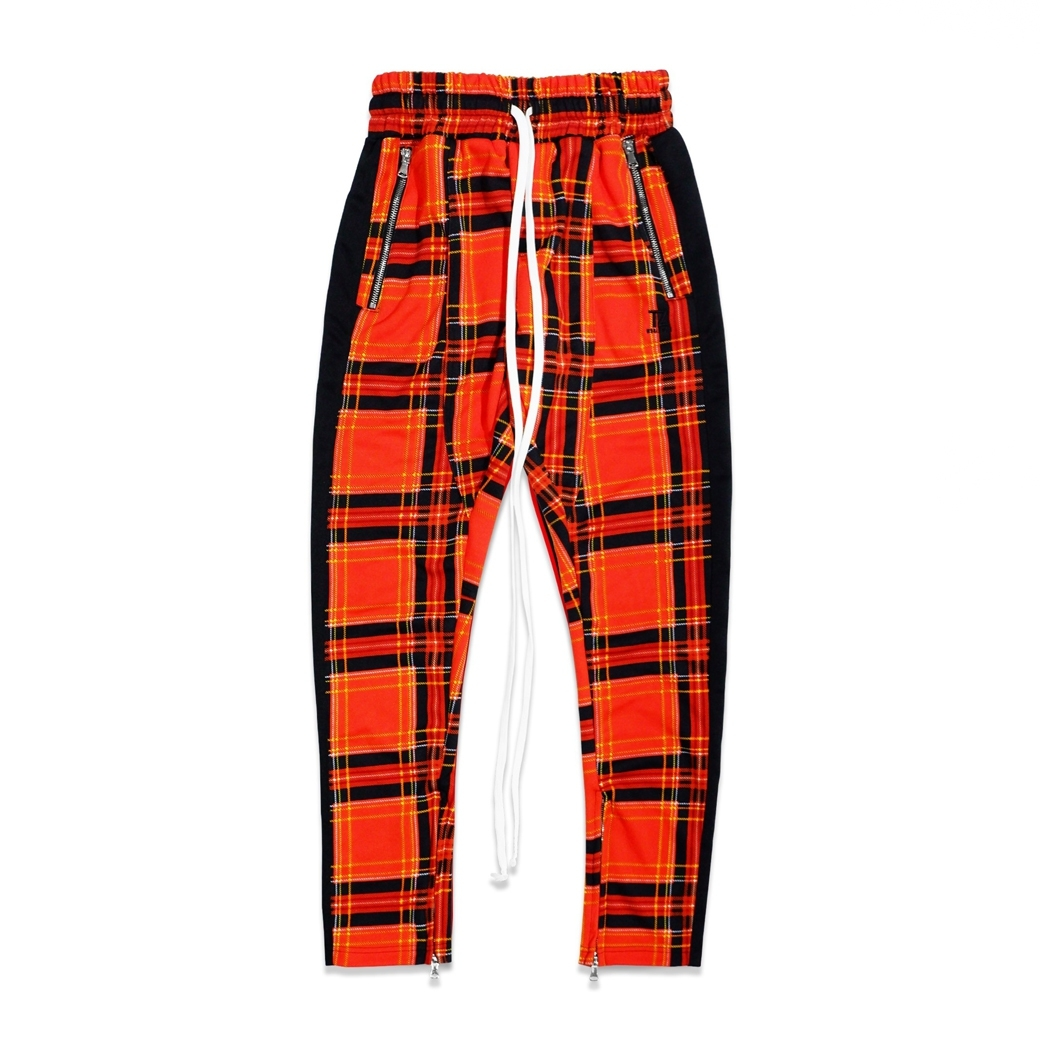 TZ WORLDWIDE PLAID TRACK PANTS ORANGE